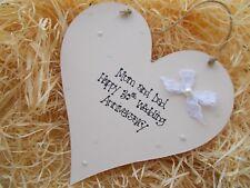 Pearl Wedding Anniversary Wooden Heart Plaque Keepsake Gift