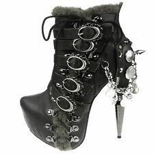 Gothic Victorian Steampunk Punk Alternative Alder Hades Sexy Ankle Boots Vegan
