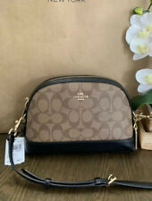 Coach Womens F76674 Signature Dome Crossbody Bag, Khaki/Black