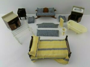 Vintage Dollhouse Furniture Lot 9 Pieces AS IS Need TLC Bed Cabinet Tub Bench