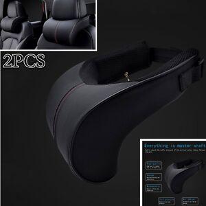 2pcs Ergonomic Headrest PU Black Leather Auto Car Neck Rest Cushion Pillows NEW