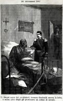 1867: Arresto di Garibaldi a Sinalunga, Siena. Stampa Antica + Passepartout.1885