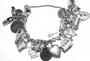 1960'S Vintage Sterling Silver Charm Bracelet with 16 Rare Charms & 7 Coins scbs