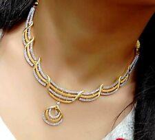 Necklace Earrings Set Lady Gift Love Anniversary Gemstone American Diamond Pearl