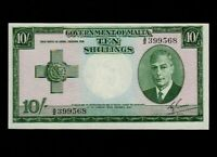 Malta:P-21,10 Shillings,1949 (1951) * King George VI * UNC *