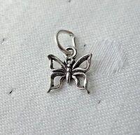 Mariposa silueta diminuto 3d CHARM PLATA DE LEY 925