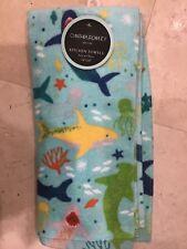 CYNTHIA ROWLEY KITCHEN TOWELS SHARKS BLUE YELLOW GREEN  (2)  NIP