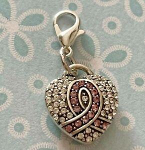 Brighton Diva HEART Crystals Breast Cancer Survivor Pink Silver ABC Charm