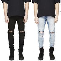 HOT STOCK Men Straight Leg Stretch Skinny Pants Ripped Denim Jeans Hole Trousers