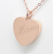 Rose Gold Over Stainless Mom Heart Urn Necklace || Memorial Keepsake Jewelry