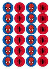 24 x Large Spiderman Edible Cupcake Toppers Birthday Party Cake Decoration