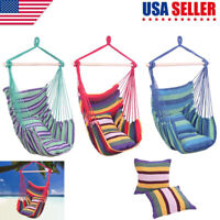 Chair Hanging Rope Swing Hammock Outdoor Porch Patio Yard Seat w/ 2 Pillows US