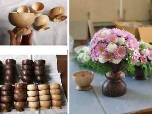 Coconut Shell Bowl Vase Flower Cup  Natural Eco Friendly Halves Handmade House
