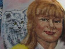PAINTING ENAMEL ON COPPER ARTIST DOMINIC MINGOLLA GIRL & CAT KITTEN