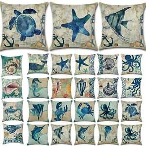 "Ocean Sea Animal Pillow Case Sofa Bed Waist Throw Cushion Covers Home Decor 18"""