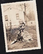 Antique Photograph Little Girl Holding Doll on Tricycle Bike Next To Carriage