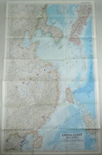 Vtg Map Korea China Coast 1953 National Geographic Society Large Wall Size 41x25