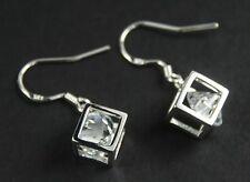 Women's 925 silver plated clear crystal cube drop dangle hook earrings