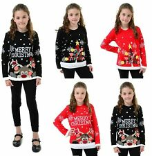 Boys Girls Unisex Kids Novelty Retro Merry Christmas 3D Xmas Jumper US 3-13Years