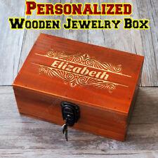 Personalized Engraving Retro Wooden Jewelry Box Custom Bridesmaid Birth Gift
