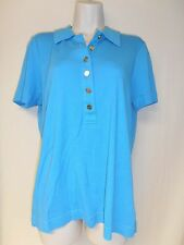 Tory Burch Large Teal short sleeve shirt w/gold buttons,100% cotton good conditi