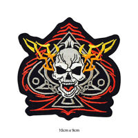 Spade Skull Biker Racer Embroidered Patch Iron on Sew On Badge For Clothes