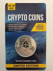 Ethereum 1oz .999 Silver Bullion Coin with Card ERROR 2020 Crypto Series Scarce