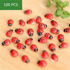 100Pcs Miniature Ladybird Ladybug Garden Ornament Figurine Fairy Dollhouse Decor