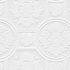 Leaf Medallion Ceiling Tile Raised Textured Paintable Wallpaper 48930