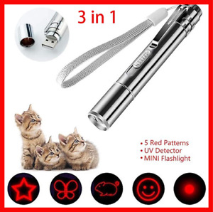 Laser Pointer Pen Rechargeable For Cat Dog Pet Toy Flashlight USB Charging 3 in1