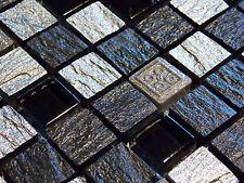 Schiefer Effekt Mosaik Fliesen Glas Naturstein Silber Schwarz Anthrazit FDUR1505