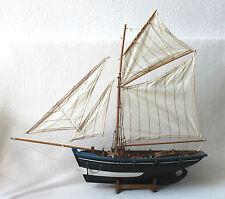 Modellschiff  60x57cm Segelyacht Boot Holz und Leinen Segelschiff F086-60