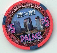 LAS VEGAS PALMS  2012 11TH ANNIVERSARY  $5   CASINO UNC. CHIP