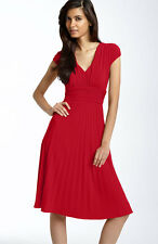 SUZY CHIN MAGGY BOUTIQUE RED RUCHED MATTE JERSEY DRESS SIZE 10 NWOT