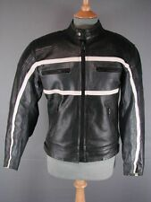 CLASSIC PROTO BLACK, GREY & WHITE LEATHER BIKER JACKET WITH REMOVABLE PADS 36 IN