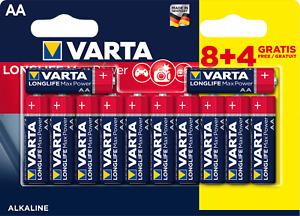 8+4 Piles Alcalines AA / LR6 Varta LongLife Max Power