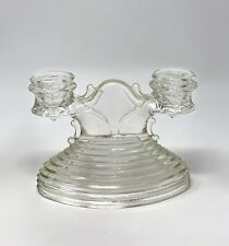 Vintage Anchor Hocking MANHATTAN Double Candlestick Holder Clear Glass