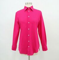 Thomas Pink Button-Up Shirt Blouse Top Womens XS Bright Pink Waffle Pique Career