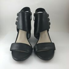Vince Camuto Womens Lyssia Wedge Heel Ankle Band Shoes Size 7 Black Open Toe