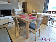 Small Dining Set Extending Table and 4 Solid Wood Chairs in Oak Sonoma Kam3