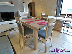 SET of extending dining table and 4 solid wood chairs sonoma, small&great!!Kam02