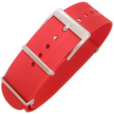22mm Bonetto Cinturini Italy 328 2-Pc Red Rubber MoD G10 Dive Watch Band Strap