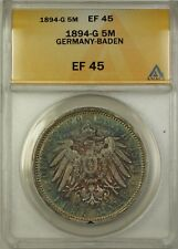 1894-G Germany-Baden 5M Five Marks Silver Coin ANACS EF-45 Nicely Toned