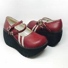 TORRID Red Platform Wedge Shoes Double Strap Mary Jane Flames SIZE 6 Very Cool!