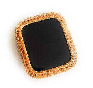 EMJ Bling Gold Apple watch band /Orange Zirconia Bezel Case Face Cover 40/44 mm