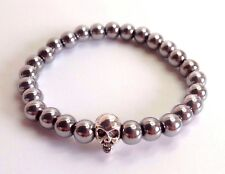 MENS Hematite Natural Gemstone Silver Skull Beaded Stretch Jewelry Bracelet