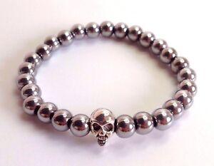 MEN'S Hematite Natural Gemstone Silver Skull Beaded Stretch Jewelry Bracelet
