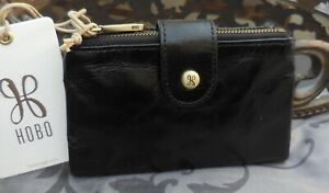 Hobo International ~RAY Vintage Leather Bifold Compact Wallet~BLACK~NWT $98