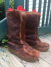 Yeti Boots Cortina Sole Made Italy Red-Brown Fur Fleece Lined Wms Sz. 40 (10)