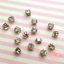 120 pcs Sew on Cut Glass Crystals 4.5mm in Silver Settings montees 4 holes bead